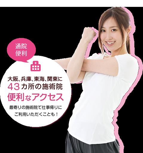 大阪、兵庫・東海・関東に43カ所の施術院便利なアクセス最寄りの施術院で仕事帰りにご利用いただくことも!